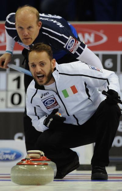 2015, Halifax N.S. Ford Men's World Curling Championship, Italy skip Joel Retornaz, Scotland skip Ewen MacDonald, Curling Canada/michael burns photo